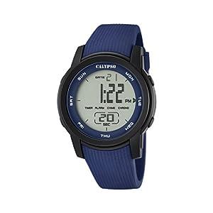 Calypso–Reloj Digital Unisex con LCD Pantalla Digital Esfera Azul