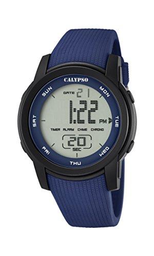 Calypso-Reloj Digital Unisex con LCD Pantalla Digital Esfera Azul y Correa de plástico k5698/2