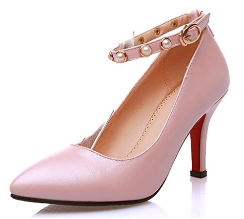 YE Damen Spitze High Heels Ankle Strap Pumps mit Knöchelriemchen und Perlen und Schnallen Rosa