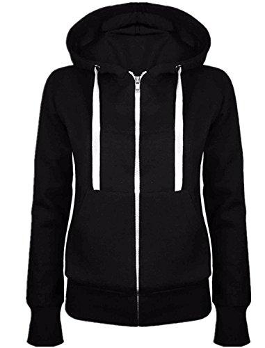 Langarm-hoodie, Zip Top (SZIVYSHI Langarm Thick Warm Sport Sporty Active Kapuze Kapuzenpullover Hoodie Baumwolle Trainingsanzug Sweatshirt Oberteil Top Zips Closure Schwarz L)