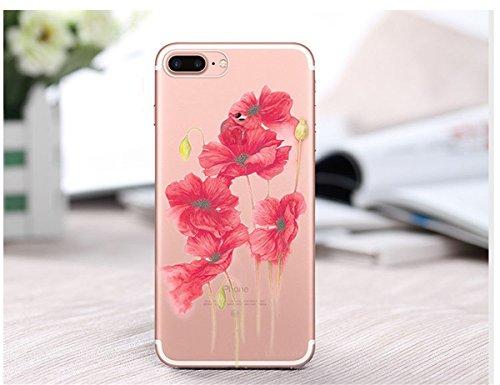 iPhone 7 Plus hülle vanki® Schutzhülle Blütenblatt Clear Case Cover Bumper Anti-Scratch TPU Silikon Handyhülle für iPhone 7 Plus(5,5 Zoll) (J) F