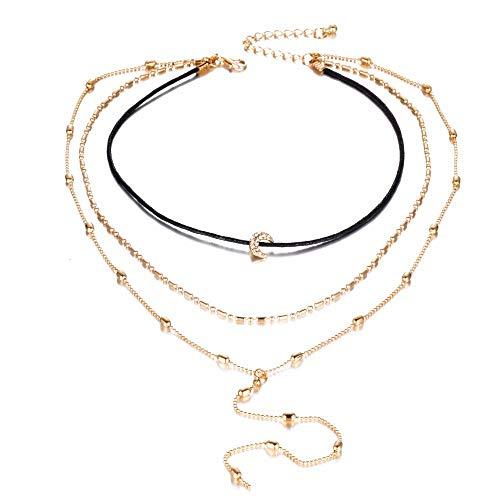 71f163237763 ZUXIANWANG Collar Collar multicapa Luna Collar Colgante Collar de abalorios  mujeres Joyas