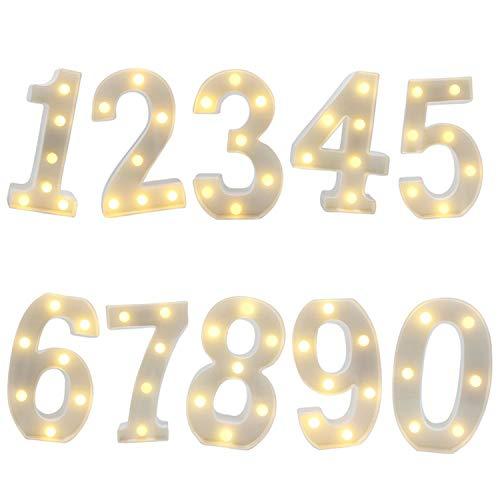 LED Zahlen Lampe Nummer Beleuchtete Ziffern 0 bis 9,Led dekoration für Geburtstag Party Hochzeit & Urlaub Haus Bar,1