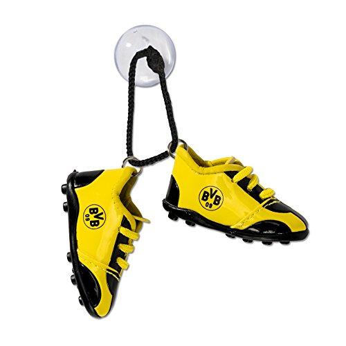 Borussia Dortmund Autoschuhe, Schwarzgelb, Polyester, 7 cm x 2,5 cm x 4 cm (pro Schuh), mit Saugnapf, Autozubehör, BVB-Schuhe one Size