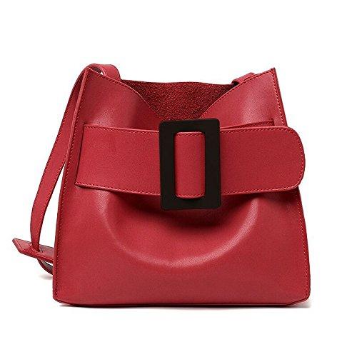 Mefly La Nuova Borsa In Pelle Semplice Ladies Sacchetta Kaki Verde Red tie black buckle