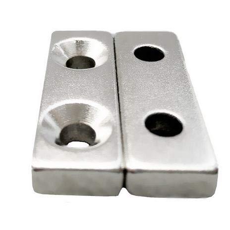 20 NEODYM QUADER MAGNETE Paarweise angeordnet 30x10x5 mm mit 2x Senkung 4,5 mm BOHRUNG SENKUNG N45 7 KG VERSCHRAUBEN HAUSHALT - Paarweise