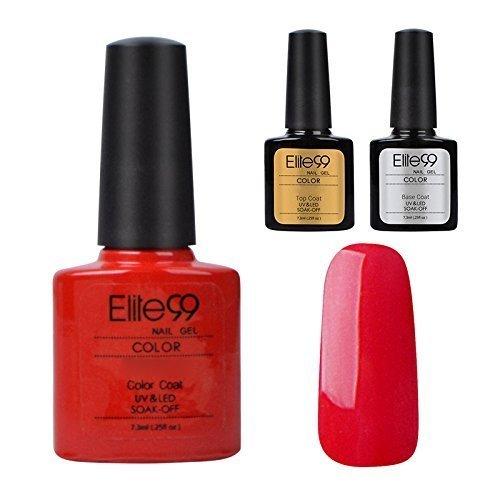 Elite99Halbpermanenter Soak-Off-Gel-UV-/LED-Nagellack, Basisgel und Versiegelungsgel, 3-teiliges Set, für Nail Art, 7,3ml