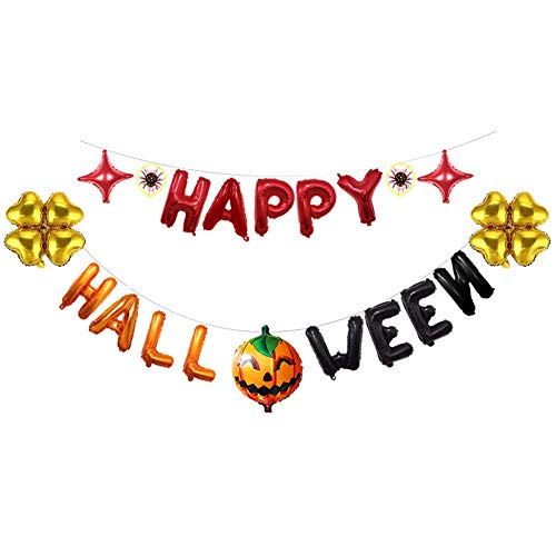 Yalatan Glückliche Halloween-Fahnen-Aluminiumfilm-Ballone, Kürbis-Halloween-Party-Dekorationen