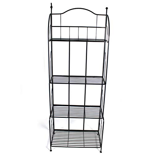 G-HJLXYZWJHOME Retro 4-Tier Badezimmerregal Wandregal BüCherregal Regale Gartenpflanze StäNder Pflanze Rack Display, Metall, Schwarz