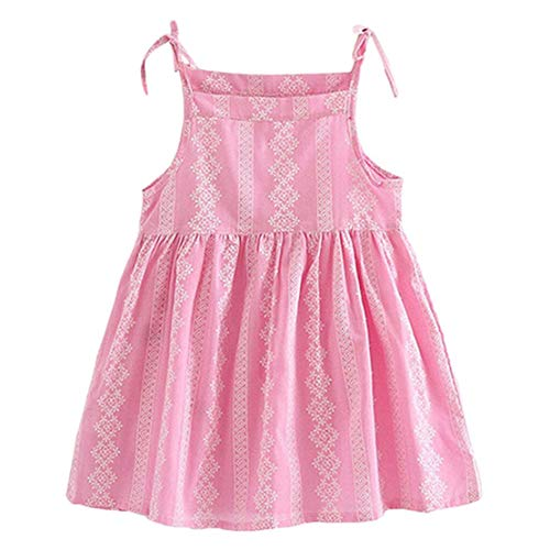 Kid Baby Girl Solid Flower Striped Princess Party Dress Sundress Clothes (4-5 Years-130, Rosa) ()