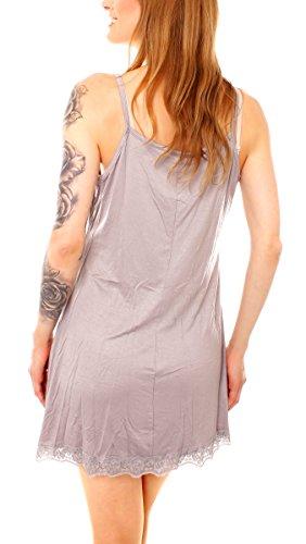 Easy Young Fashion Damen Jersey Negligée Unterkleid Hellgrau