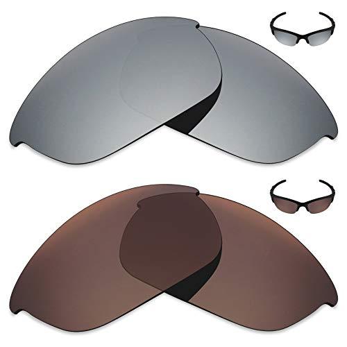 MRY 2Paar Polarisierte Ersatz Linsen für Oakley Sonnenbrille Half Jacket 2.0-Reichhaltige Option Farben, Silver Titanium & Bronze Brown