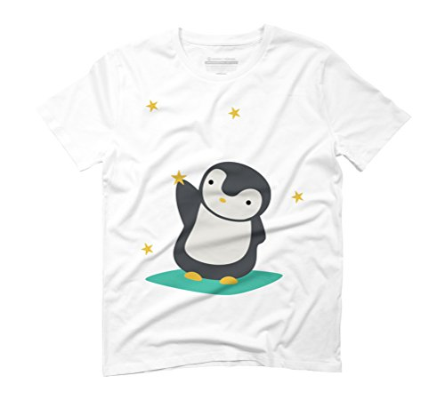 Cute & Kawaii Penguin Catching Stars Men's Graphic T-Shirt - Design By Humans White