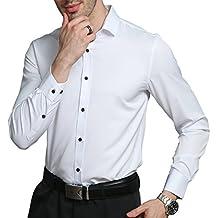 KelaSip Camisa para Hombres Transpirable Manga Corta Color Sólido para Hombres Slim Fit Formales/Casual Camisas Negocios Clásico… haok1bJ
