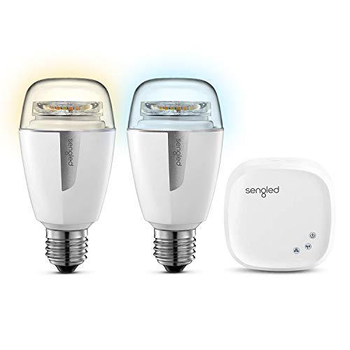 Sengled Element Smart LED Lampe, E27, dimmbar, warm-kaltweiß 2700-6500K, Starter Set (2 A60 Lampen und 1 Hub), steuerbar via App, kompatibel mit Amazon Alexa und Google Assistant, 9,8W