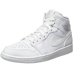 Nike Air Jordan 1 Mid, Zapatillas de Baloncesto para Hombre, Blanco (White/Pure Platinum/White 104), 46 EU
