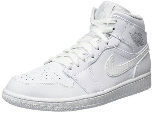 Nike Herren Air Jordan 1 Mid Basketballschuhe, Elfenbein (White/Pure Platinum/White 104), 45 EU (Jordan Schuhe 45)