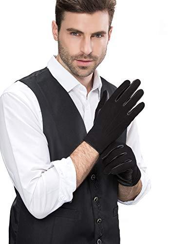 ell Wildleder Handschuhe mit Warm Gefüttert, Touchscreen, Männer Winter Elegant Schaffell Wildlederhandschuhe Echte Leder Winterhandschuhe Warme Gefütterte, schwarz Groß/9.5