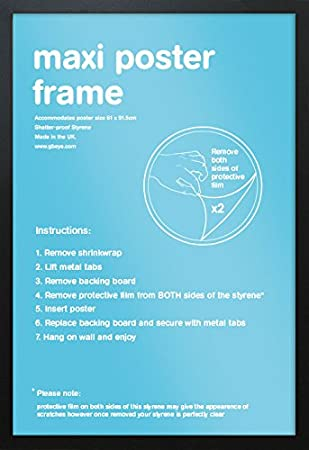 gb eye black maxi poster frame 61cm x 915cm amazoncouk kitchen home