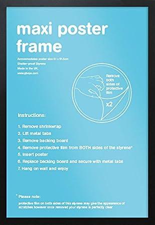 gb eye black maxi poster frame 61cm x 915cm amazoncouk kitchen home