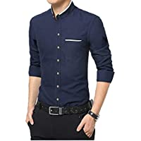 IndoPrimo Men's Cotton Chinese Collar Full Sleeves Casual Shirt (Navy Blue, Medium - 40)