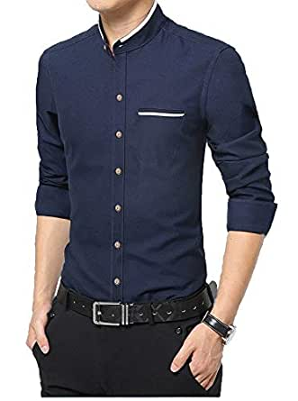 IndoPrimo Men's Cotton Chinese Collar Full Sleeves Casual Shirt (Navy Blue, Small - 38)
