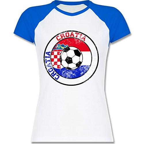 EM 2016 - Frankreich - Croatia Kreis & Fußball Vintage - zweifarbiges Baseballshirt / Raglan T-Shirt für Damen Weiß/Royalblau