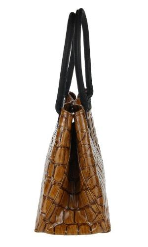 Made Italy , Sac à main pour femme 46x28x16 cm (BxHxT) Marron - Cognac