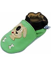 Lappa.de - Zapatillas de piel para niños (suela de goma, tallas de la 19 a la 31), diseño de perro, color verde