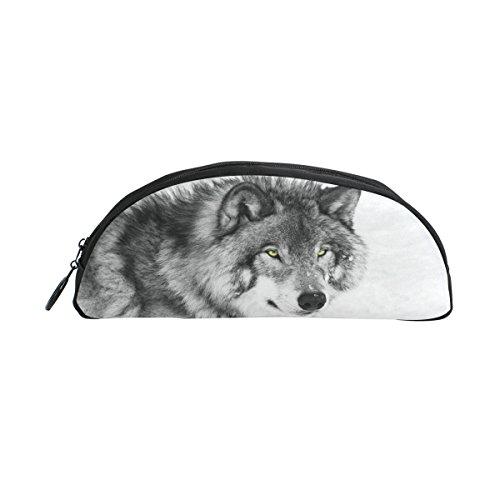 zzkko schwarz und weiß Tier Wolf Reißverschluss Pen Bleistift Tasche für Kinder Mädchen Jungen Jugendliche Erwachsene