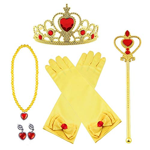 Vicloon - Set de Déguisement de Filles pour Costume d'Elsa la Reine des Neiges - Diadème avec un Diamant/Gants/Boucles d'oreilles/Baguette Magique/Collier - 3-8 ans (Jaune)