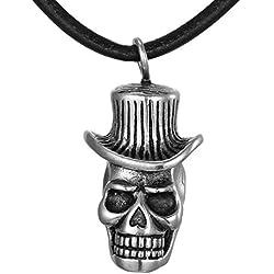 DonDon - Collar con cordón de cuero de 50 cm y calavera de acero inoxidable, en bolsa de regalo