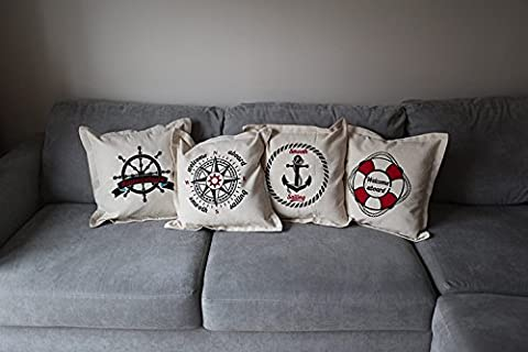 4 x Nautical Cushion Covers-Smooth