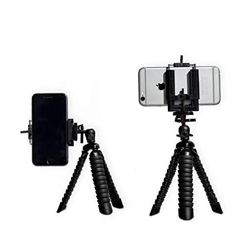 EXCLUSIVE Mini Tripod with FREE universal phone holder | The PERFECT mount and phone stand for smartphones | Fits ANY iphone, Android AND Compact Camera (All Black)