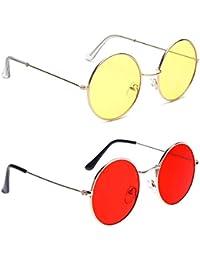 IFLASH round sunglasses stylish unisex frame Metal UV Protected Round Shape Sunglasses free size…