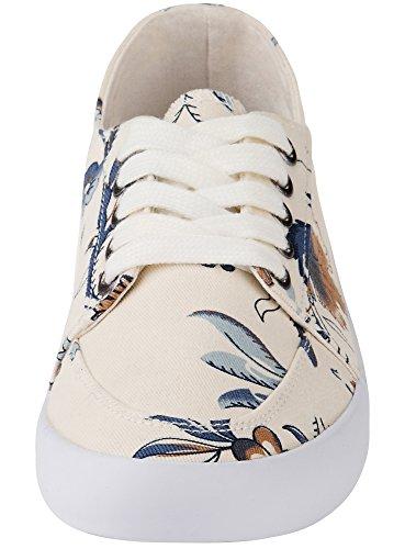 oodji Ultra Donna Sneakers in Cotone Stampate Avorio (3079E)