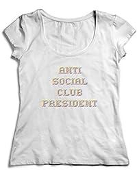 c8fee20fa5f0 MYMERCHANDISE Anti Social Club President Damen Tshirt Funny Weiß Shirt Women  Women s Lady T-Shirt