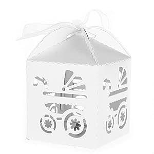 Tinksky Favore dei regali scatole Bomboniera Scatole di caramelle dono con nastri confezione da 50 (bianco)