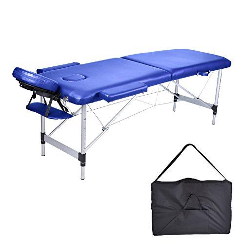 Mcdear lettino da massaggio pieghevole in alluminio a 2 zone lettino da massaggio lettino portatile lettino da tatuaggio reiki healing massaggio svedese massaggio thailandese 14kg (blu)