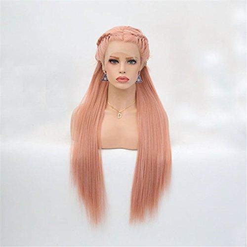 TTHJY Damen Lace Front Perücken - Glatt Rosa Wig Geflecht Synthetische Haare Hitze Resistent Lang Halloween Rave-Party Cosplay Perücke,Pink,20Inch