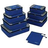 Packing Cubes 9-teilig, 2 zusätzliche Beutel, Kleine, mittelgroße, große und 1 größere Kleidertasche, dunkelblau