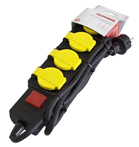 Telefunken ES415XS-BIP44 Mehrfachsteckdose - Outdoor 4 Fach Steckdosenleiste mit Kindersicherung und Schalter (1,4 m Kabel) schwarz