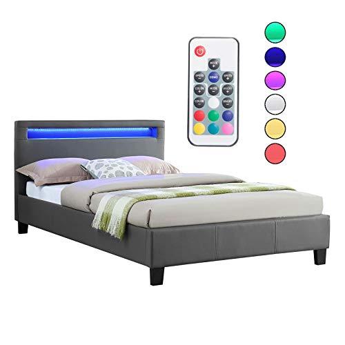 CARO-Möbel Polsterbett MIRASOL mit LED Beleuchtung Einzelbett Kunstlederbett, in anthrazit grau, 120 x 200 cm, inklusive Lattenrost - Futon-bett Für Kinder
