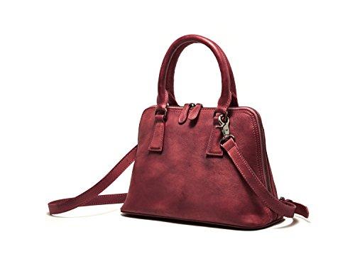 Bvane, Borsa a spalla tracolla top maniglia donna marrone rosso