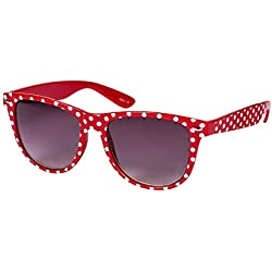 """SIX """"Trend"""" Retro Sonnenbrille in klassischem Rot mit weißen Polkadots (341-633)"""
