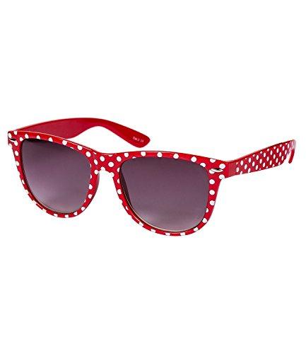 """Preisvergleich Produktbild SIX """"Trend"""" Retro Sonnenbrille in klassischem Rot mit weißen Polkadots (341-633)"""