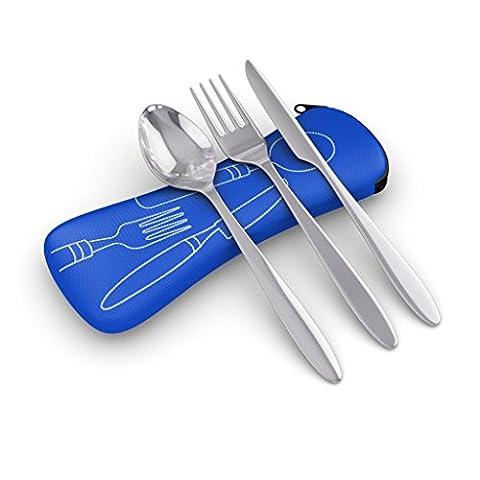 3pièces en acier inoxydable (Couteau, fourchette, cuillère) léger, Voyage/Camping Set de couverts avec étui en néoprène bleu