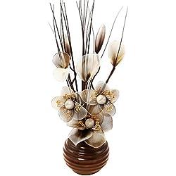 Flourish 813 - Jarrón con flores de nailon de color marrón y beige (32 cm), color marrón