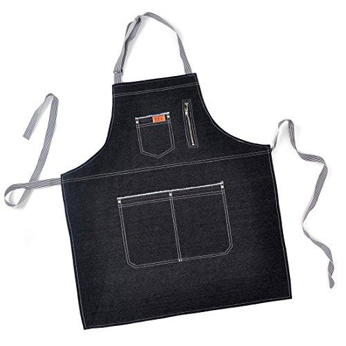 Jiyaru Babero Chef Delantal de Denim con correas de cuello ajustable y bolsillos para cocinar / hornear / asar