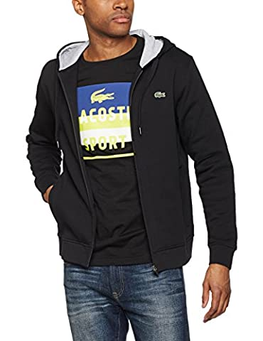 Lacoste Sport Herren Sweatshirt Sh7609, Mehrfarbig (Noir/Argent Chine), Small (Herstellergröße :